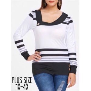 Tops - Plus Size Striped Skew Neck Long Sleeve Tee